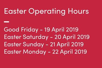 Easter Operating Hours 2019